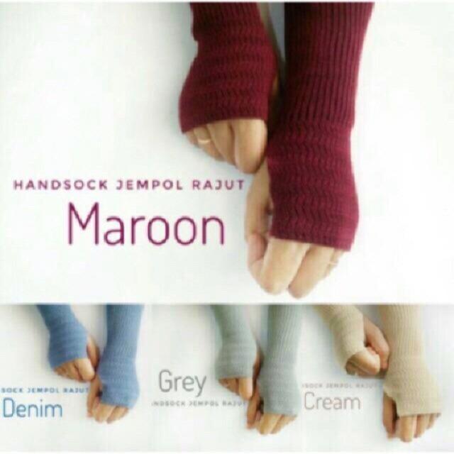 (1 pack isi 3 pcs) Premium Hand socks Rajut - Handsock Knit Manset Jempol - Kaos Sarung Tangan Panjang - Aksesoris Hijab Muslim Wanita