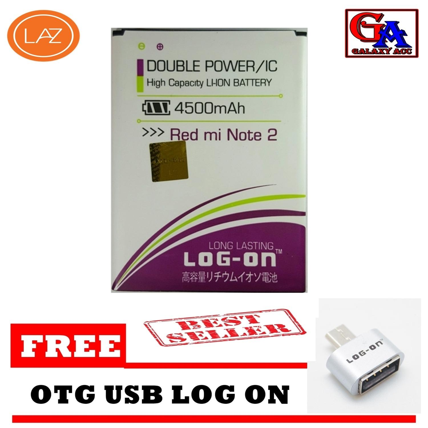 LOG-ON Battery Baterai Double Power Xiaomi Redmi Note 2 - 4500mAh - GRATIS OTG
