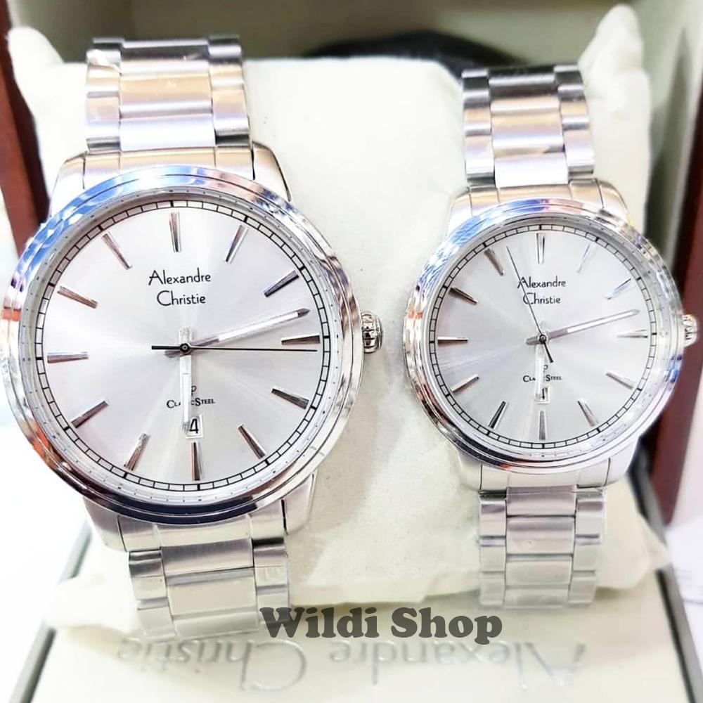 Alexandre Christie Saphire Glass Couple Watch Jam Tangan Pasangan 8040md Stainless Steel Silver Ac8556 Original