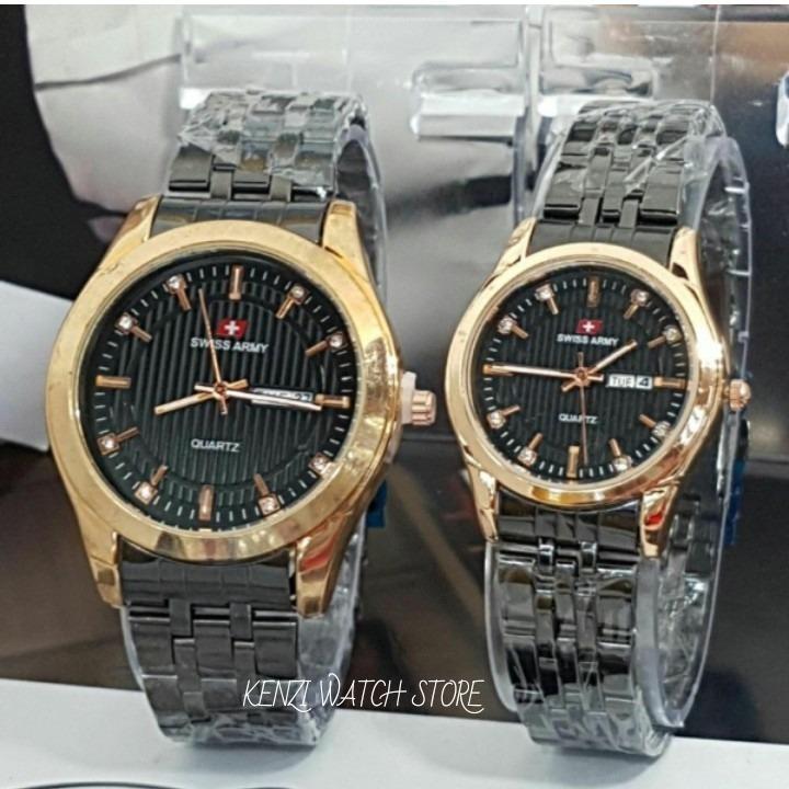Jam Tangan Fashion Trendy Toko Grosir Swiss Army Sport Black Gold Couple Pasangan Sa 6410 Fitur Tanggal Hari Aktif Full Stainless Rantai Terbaru Swiss Army Diskon 50