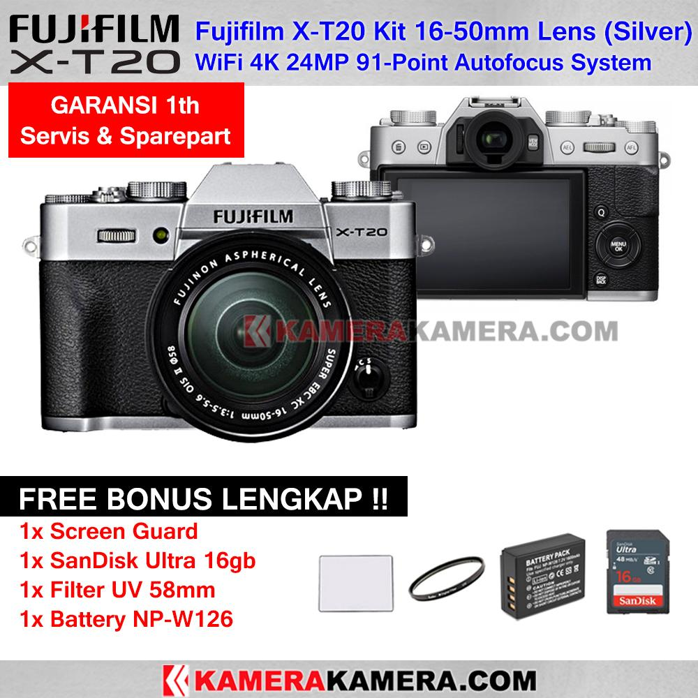 Fujifilm X-T20 Kit 16-50mm Lens WiFi 4K 24MP FujiFilm XT20 Mirrorless Camera - Garansi 1th + Screen Guard + SanDisk Ultra 16gb + Filter UV 58mm + Battery NP-W126