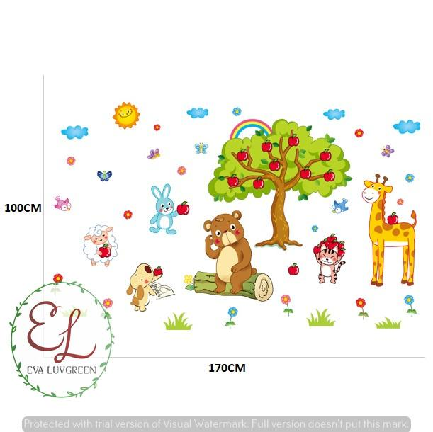 ... Eva Luvgreen Wallsticker Anak Pohon Apel dan Animal Ukuran 60x90cm/ Stiker Dinding/ Stiker Tembok