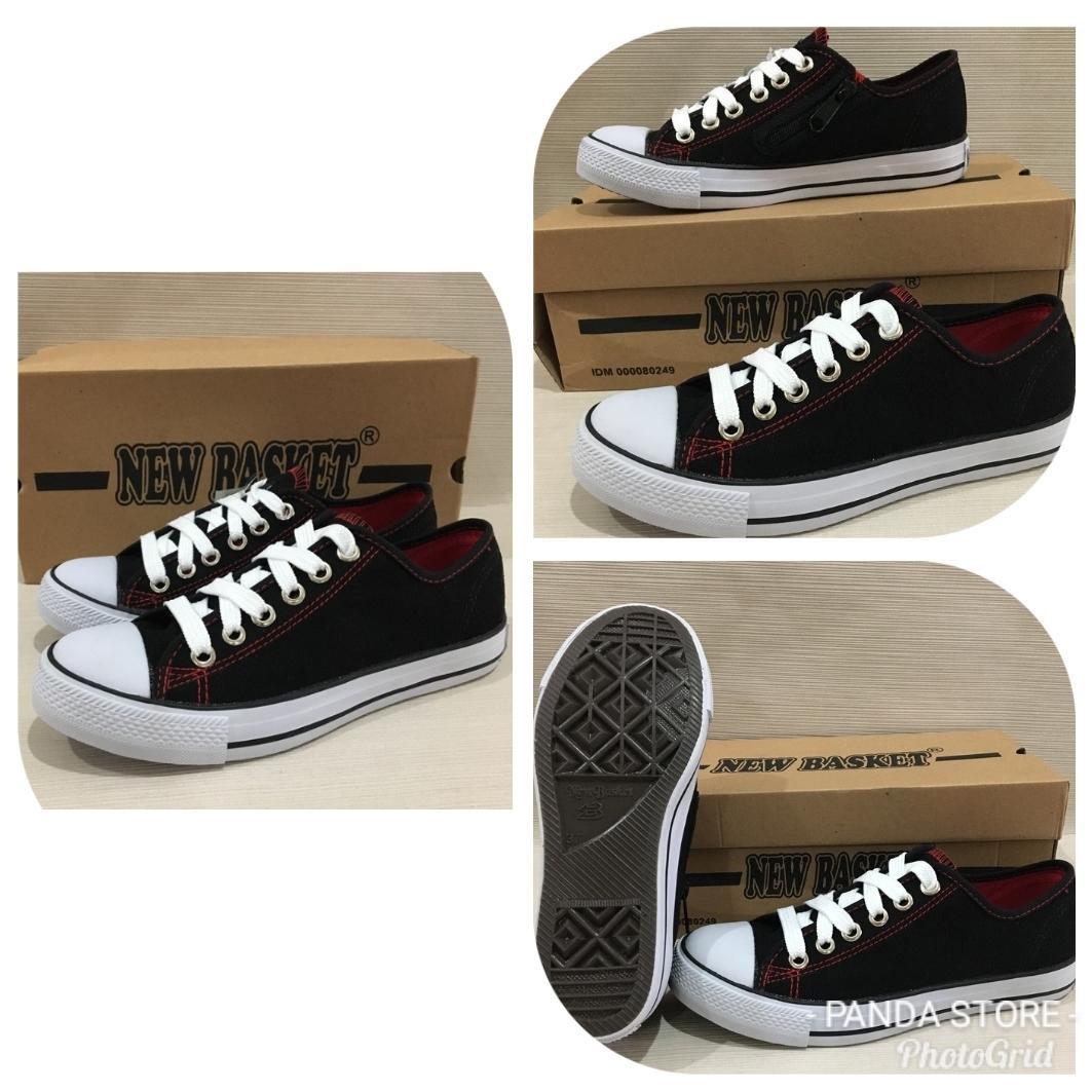 Sepatu Sekolah Sneakers Anak Merk New Basket boot Pendek untuk Cewek Cowok Hitam Putih - 5