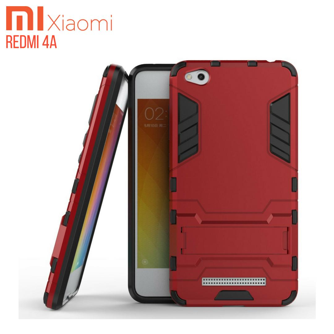 Xiaomi Redmi 4A Case Ironman Hybrid With Kick Stand - Merah