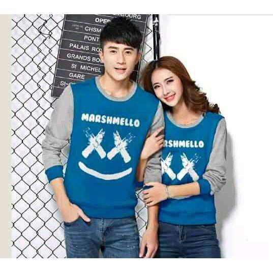 Kaos couple / baju couple / sweater couple lengan panjang murah LP New Marshmello Biru