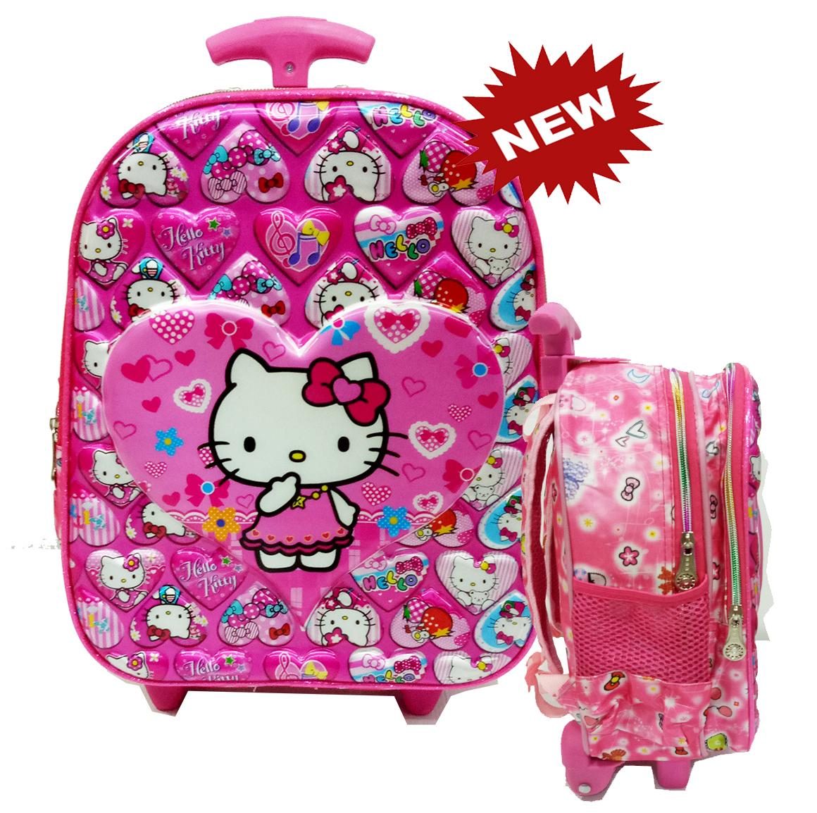 Onlan Hello Kitty 5D Timbul Tas Anak Sekolah TK New Arrival Import - Pink
