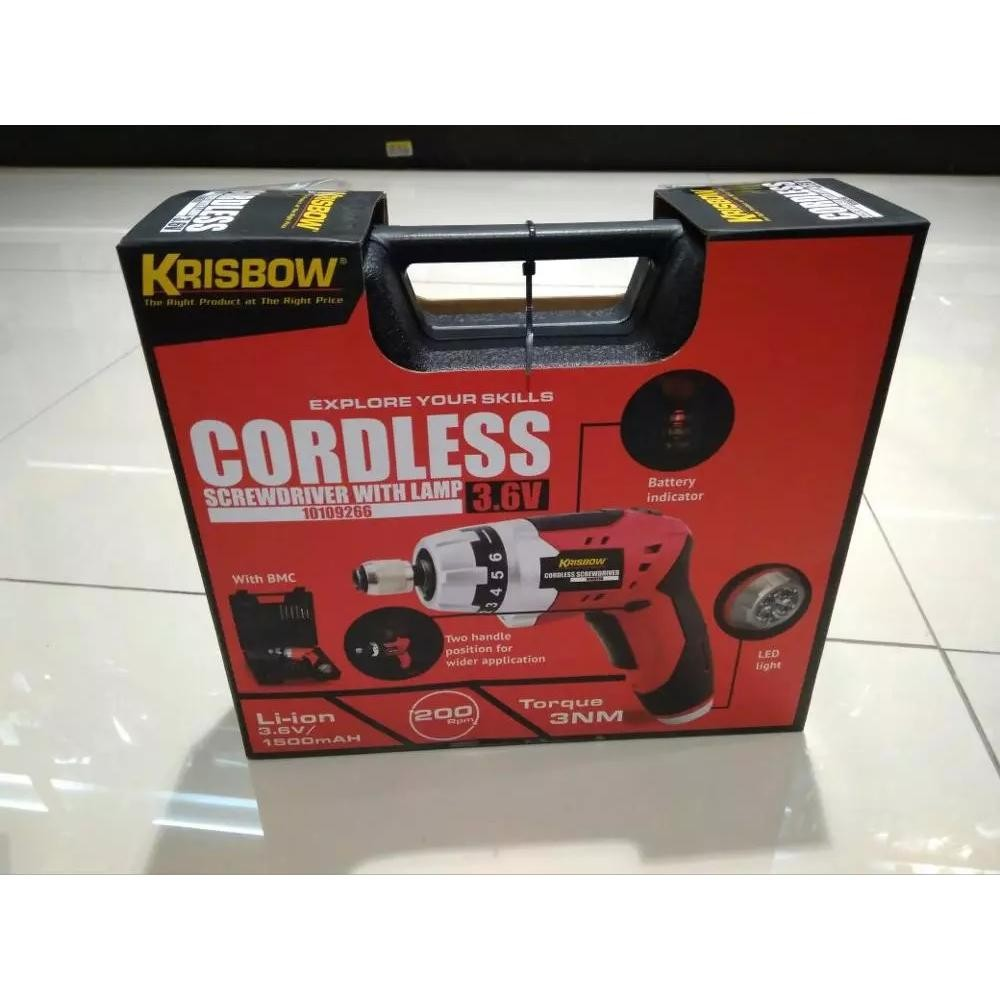 Krisbow Cordless Bor Obeng Sok Screwdriver With Lamp 3.6 Volt