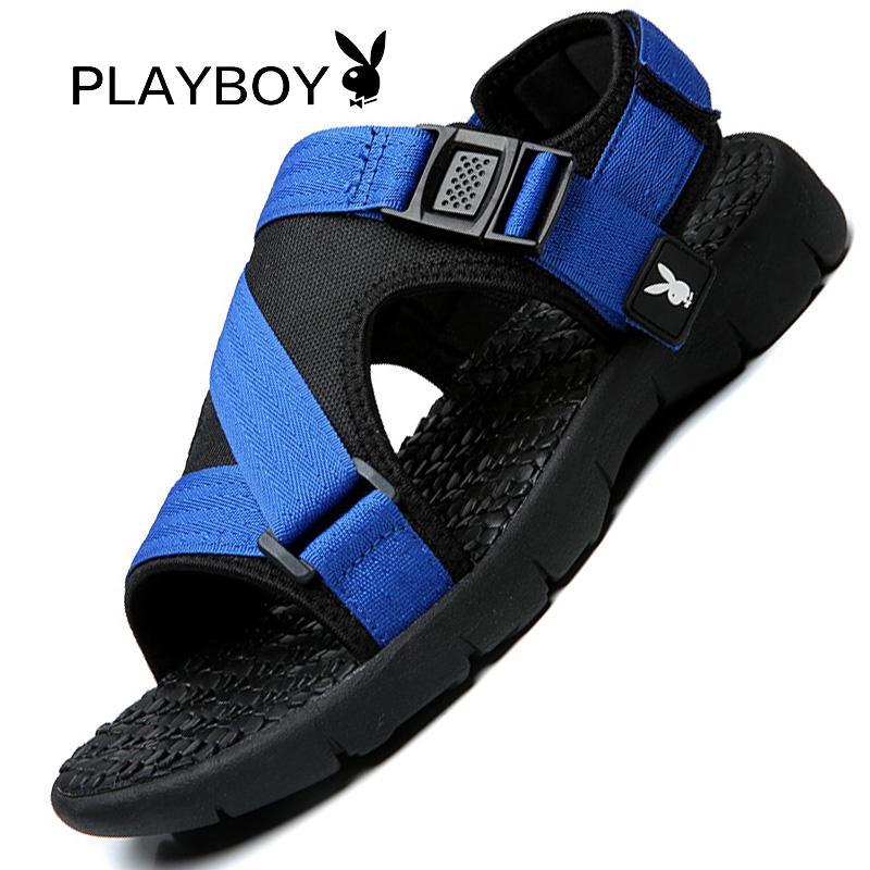 Playboy Sandal Pantai Luar Rumah Pria Sepatu Santai Pria Bernapas (Hitam)