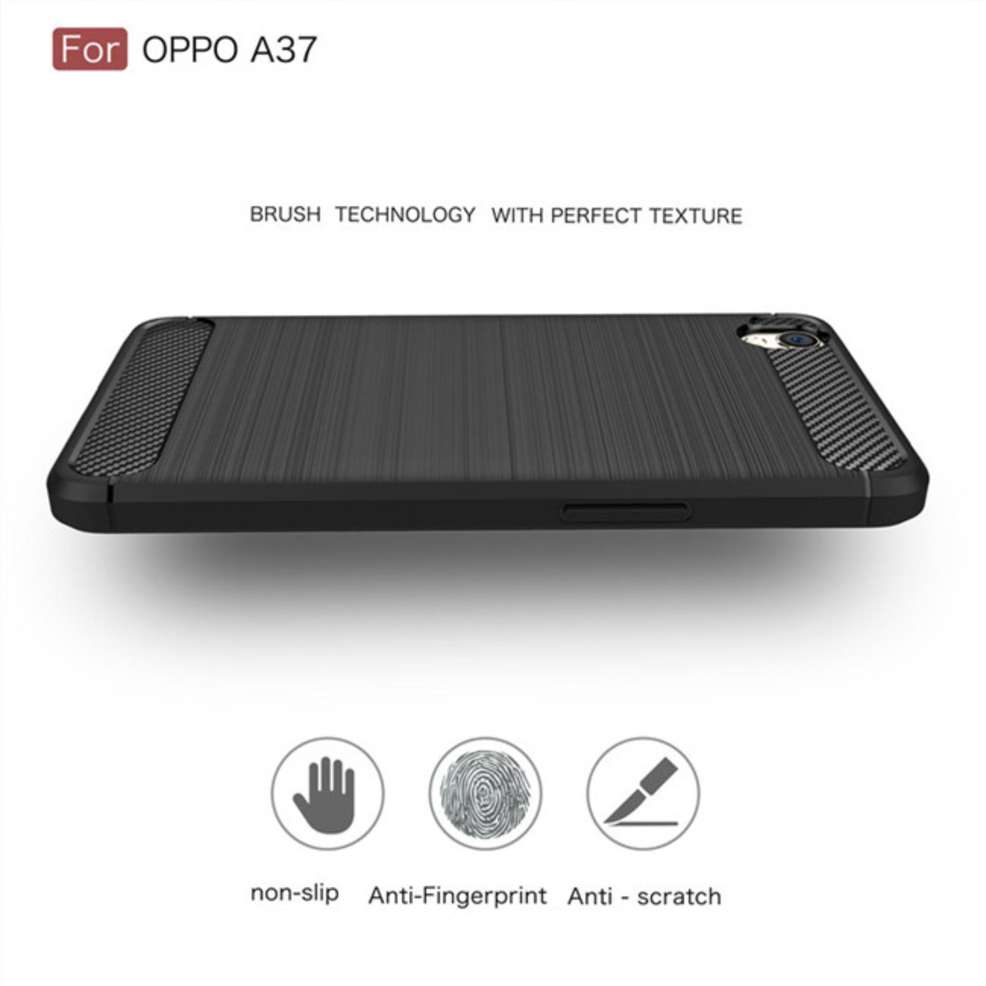 ... Poluca Luxury Case For Oppo A37 / Neo 9 Carbon Brushed TPU Shoockproof - Black ...