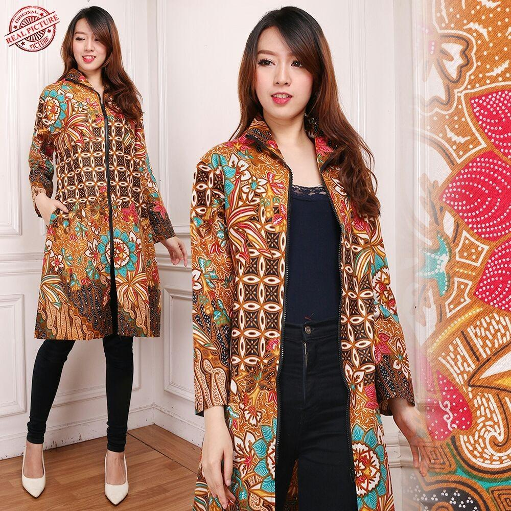 SB Collection Atasan Long Tunik Dahlia Blouse Kemeja Lengan Panjang Batik Wanita