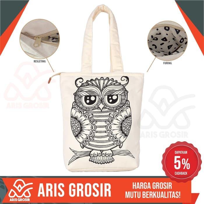 Tote Bag Kanvas Owl Tas Selempang Wanita Civeto Bird Original Murah