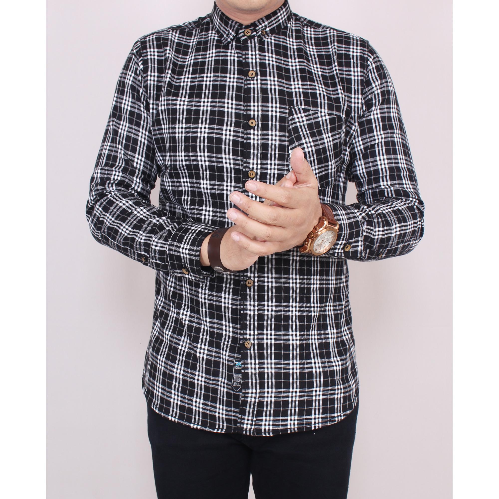 Toko Zoeystore 5533 Kemeja Flanel Pria Lengan Panjang Exclusive Baju Kemeja Flannel Cowok Kerja Kantoran Formal Hitam Kotak Putih Terlengkap