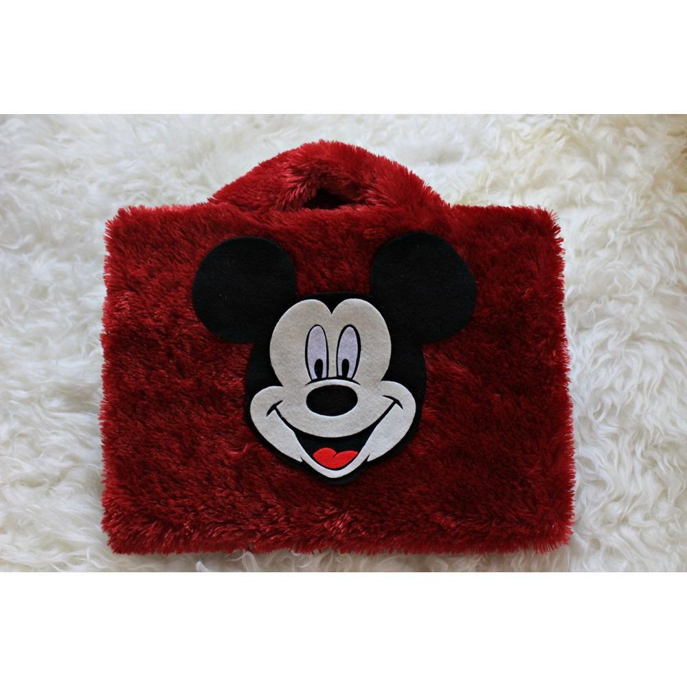 Promo Micky Mouse Merah Rasfur Bulu Lebat 10 Inch Softcase Tas Laptop Notebook Macbook Wanita Lucu Faryuz Terbaru