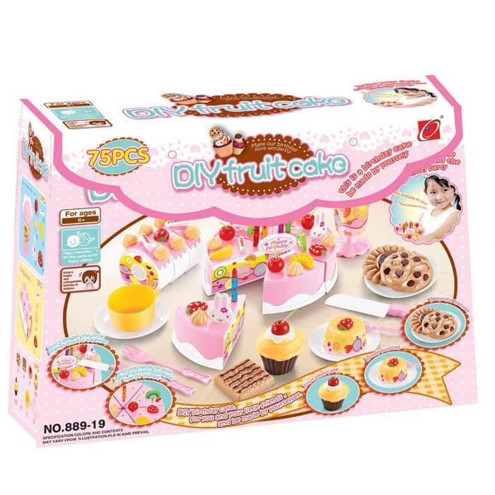 Detail Gambar DIY FRUIT CAKE PINK BESAR 75 PCS - MAINAN KUE ULANG TAHUN Terbaru
