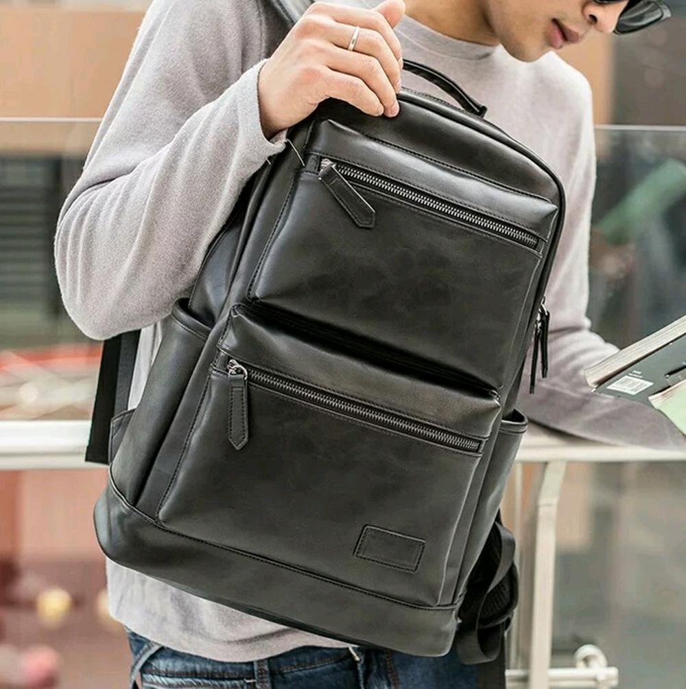 tas punggung pria - tas ransel backpack wanita kulit - tas import murah - tas sekolah kuliah laptop - branded batam kekinian di lapak pelangi_bag bagusia08