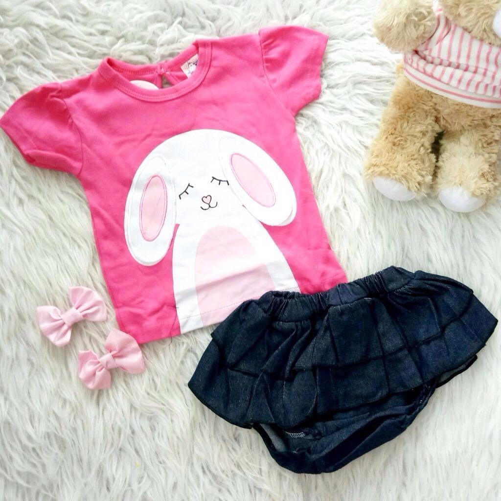 Harga Setelan Baju Rok Bayi Anak Rok Susun Rabbit Branded