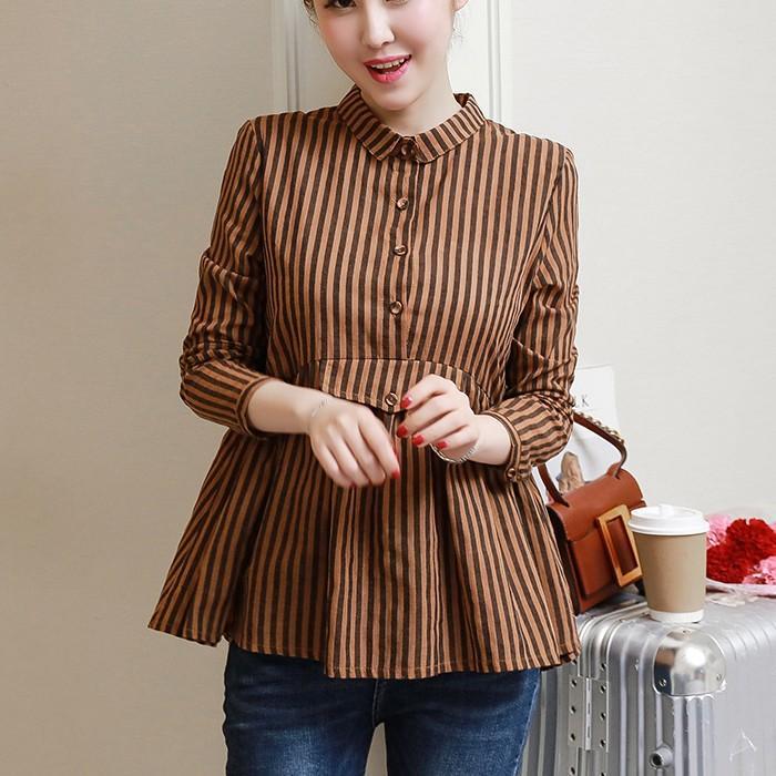 2018 Musim Semi dan Musim Gugur kain linen motif garis baju wanita busana musim gugur model