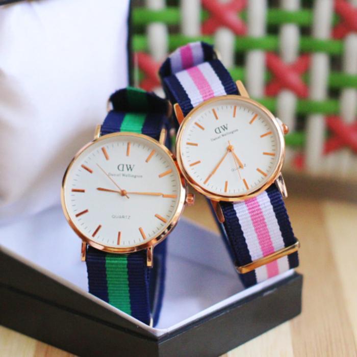 jam tangan couple Dw pria / jtr 241 green & pink