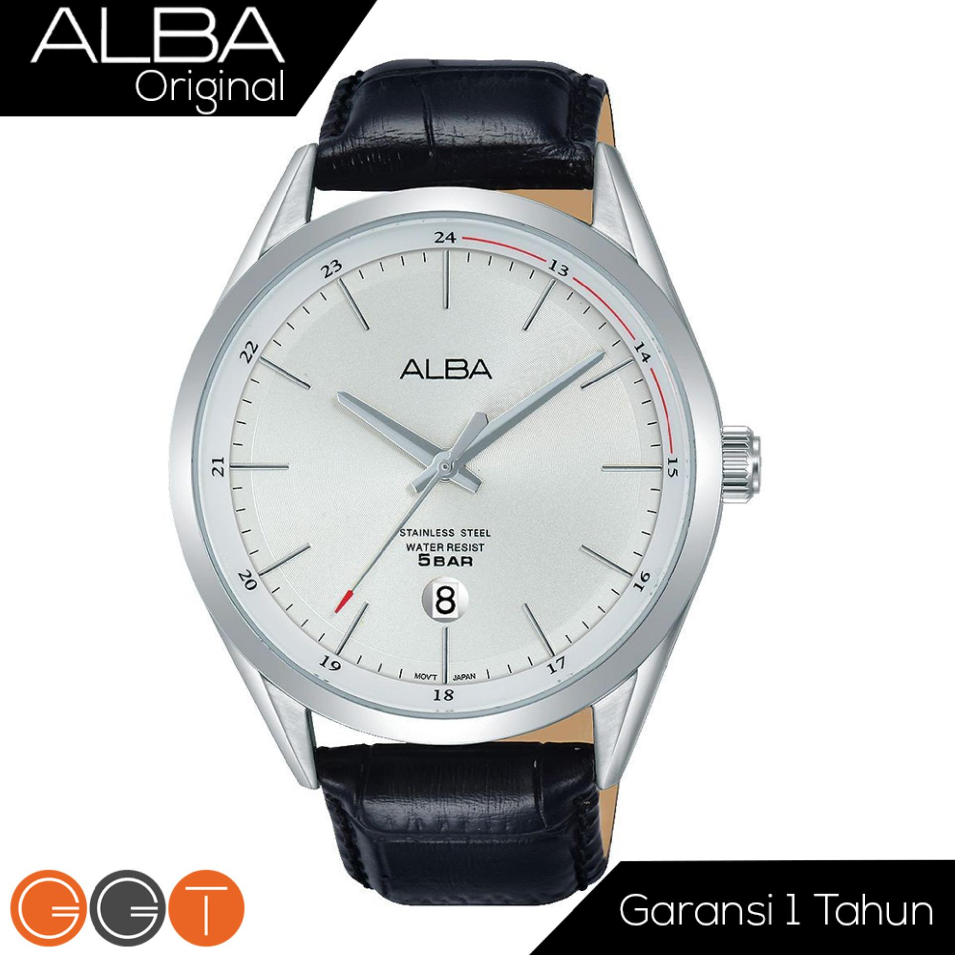 ALBA Jam Tanga Pria - Leather Strap - Quartz Movement - White Dial - AS9D41X1