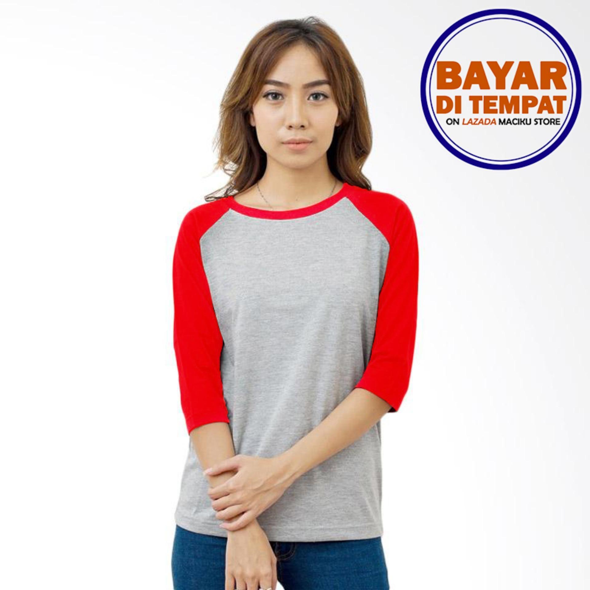Harga Kaos T Shirt Kaos Raglan Wanita Abu Misty Kombinasi Merah Termahal