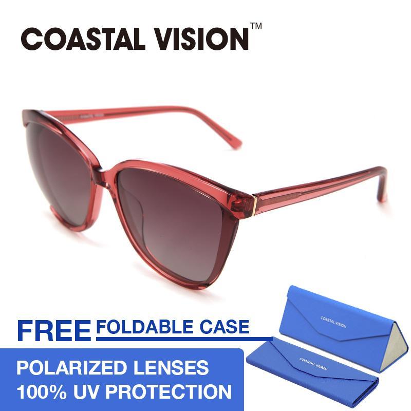 Diskon Coastal Vision Kacamata Polarized Wanita Merah Oversize Lensa Anti Uva B Cvs5036