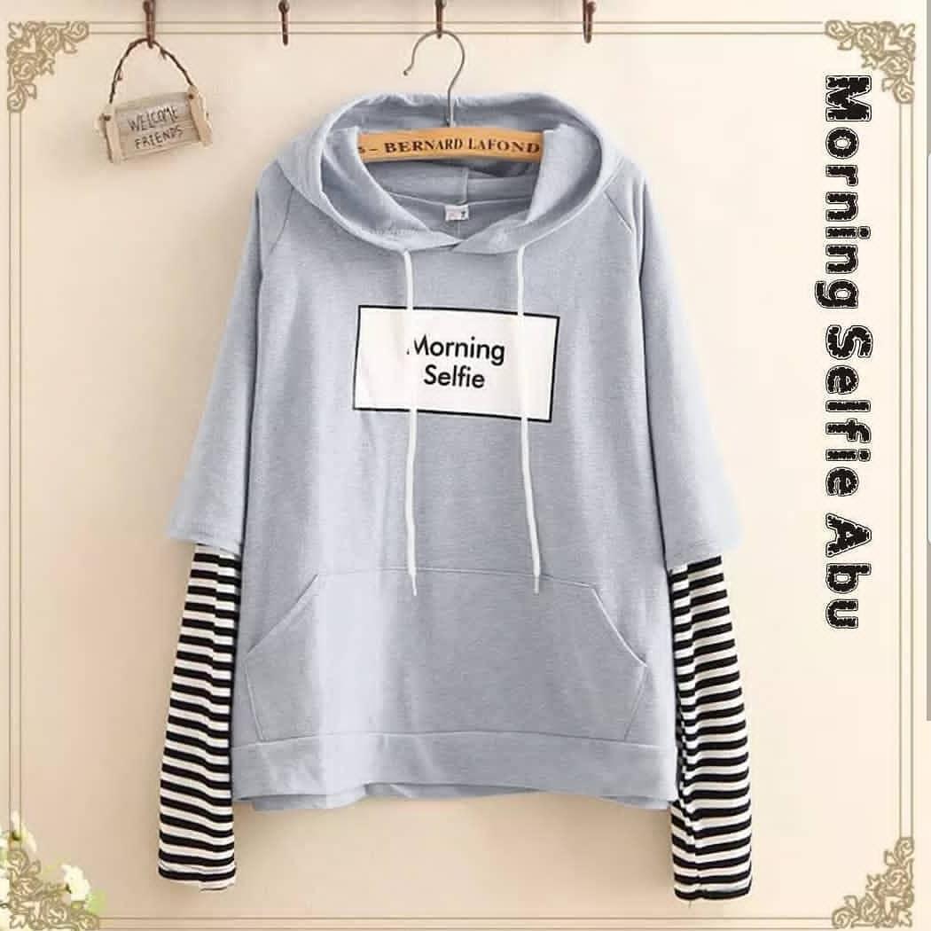 Sweater wanita korea Morning selfie soft grey