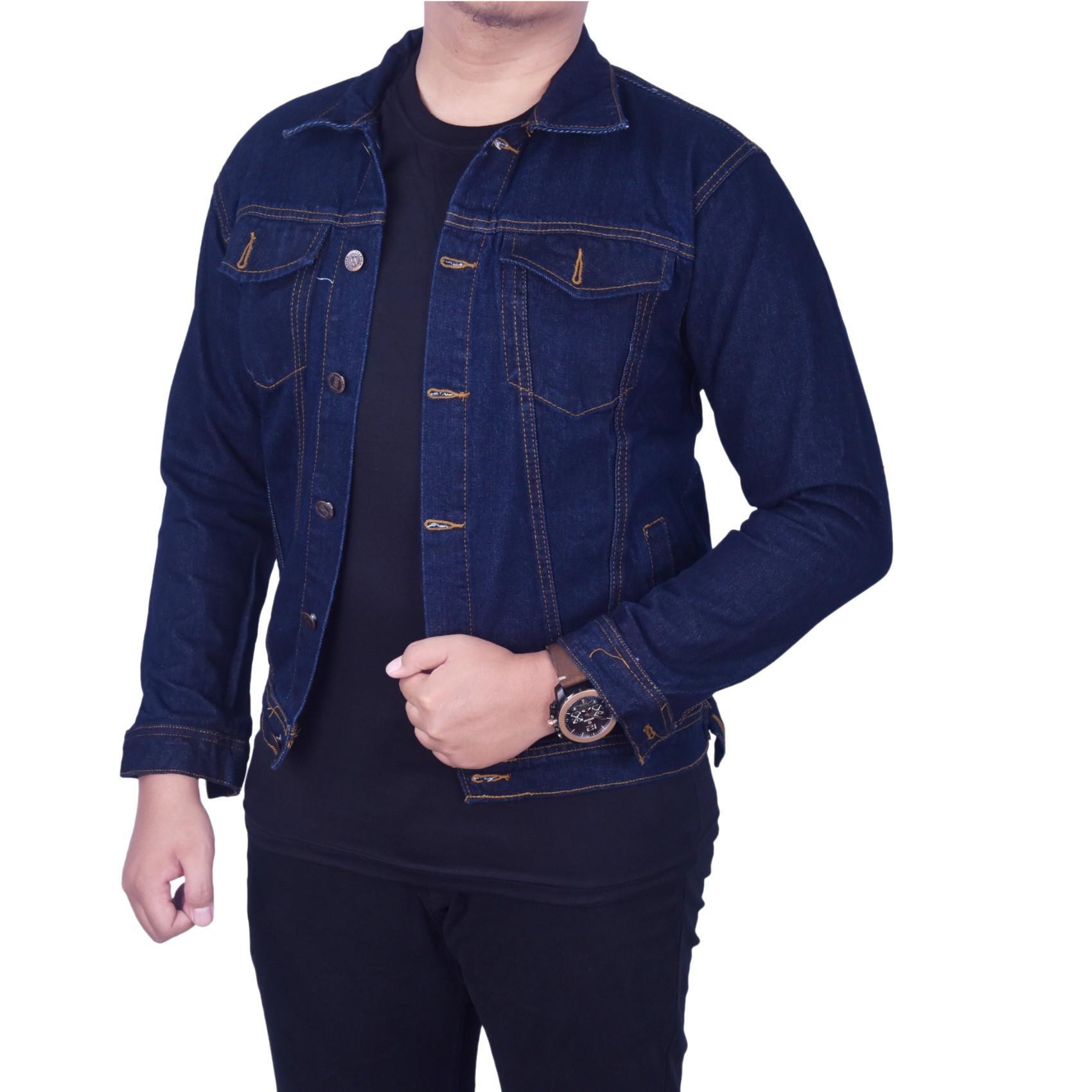 Fitur Dgm Fashion1 Jaket Jeans Denim Garmen Polos Combinasi Pria Parasut Bomber