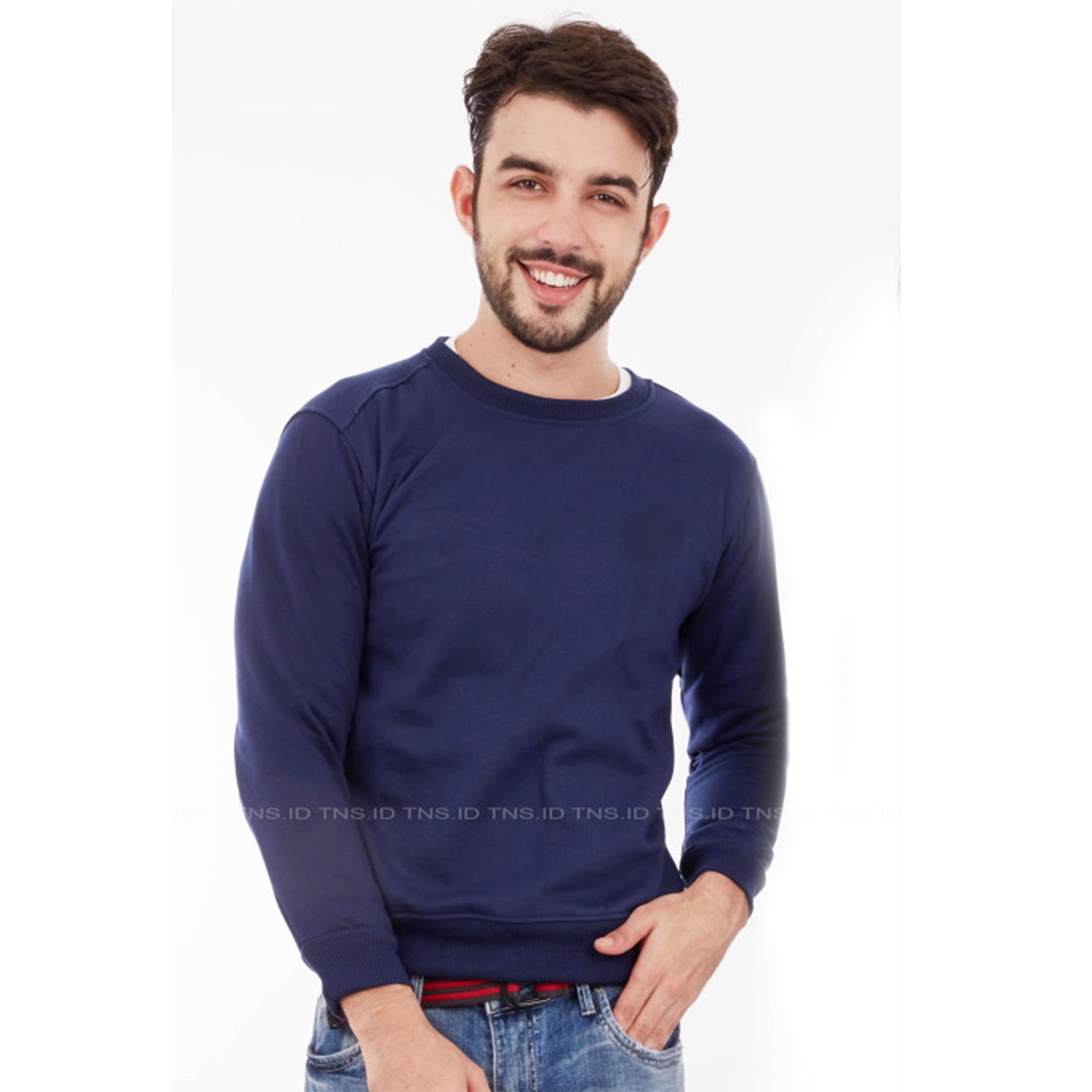 Bajukitaindonesia Jaket Basic Sweater Polos BIRUDONKER - Pria dan Wanita
