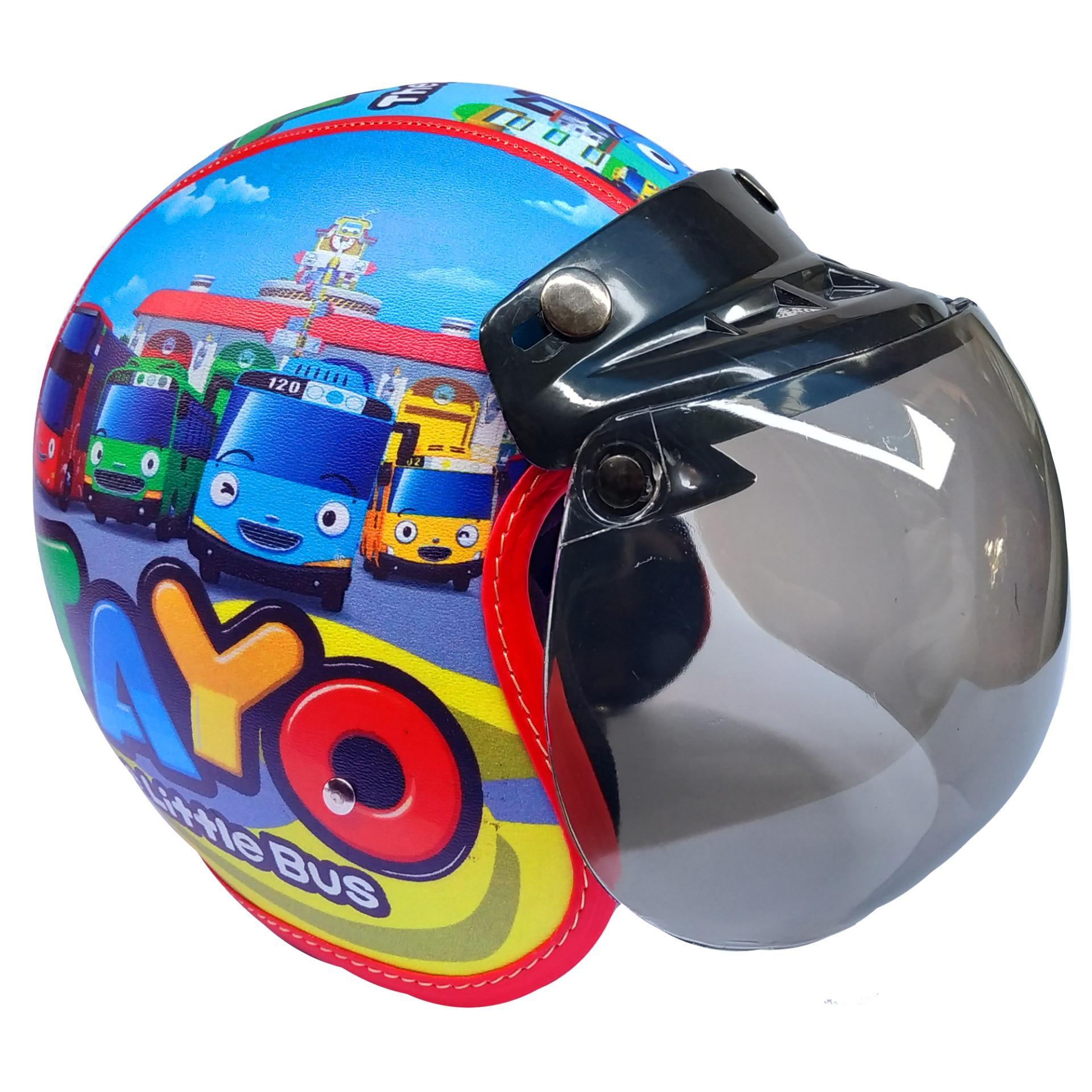 Helm Anak Bogo Motif Tayo Biru Laser Untuk Usia 2-6 Tahun