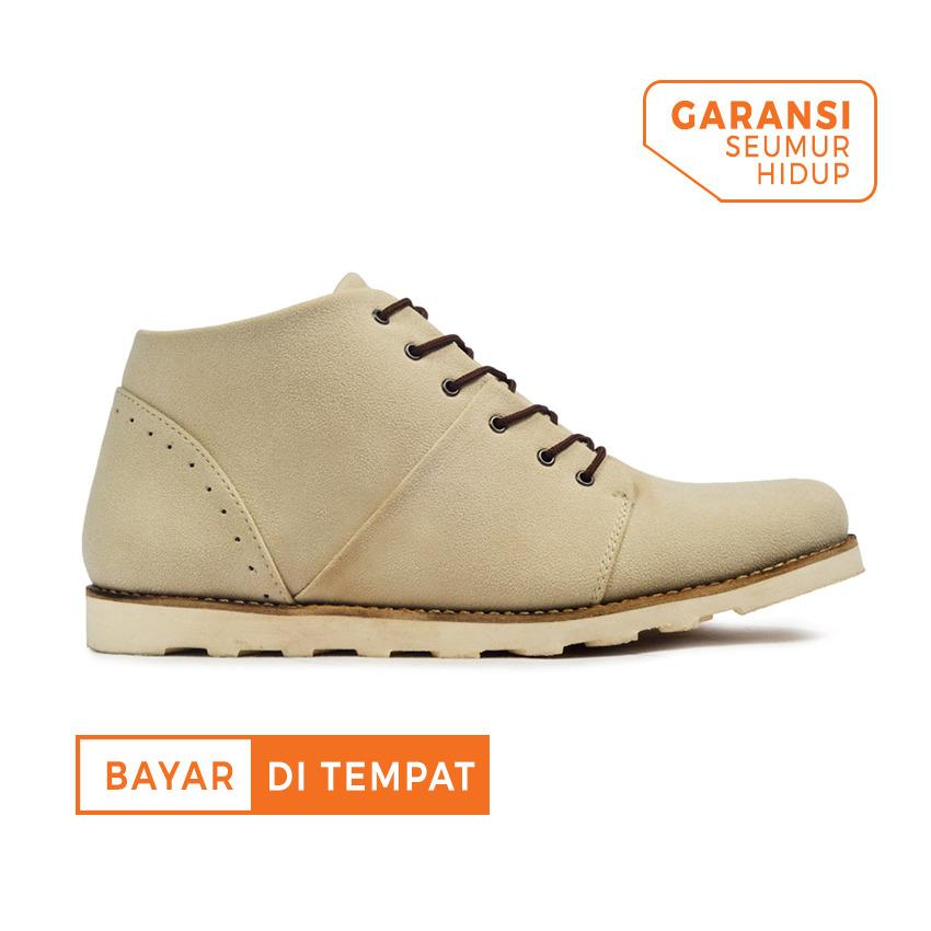 Review Sepatu Casual Ankle Boots Suede Pria Giant Flames Rocked Cream Giant Flames Di Jawa Barat