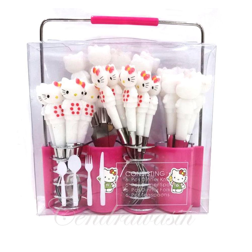 Promo Toko Sendok Set Hello Kitty Stainless Steel 24 Pcs Pink