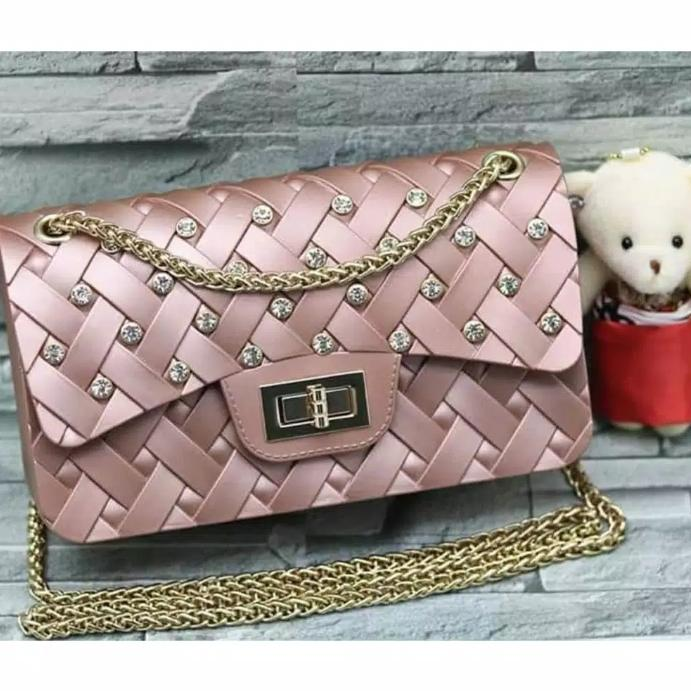 Tas fashion wanita jelly anyam diamond mini tas import 738c5efaab