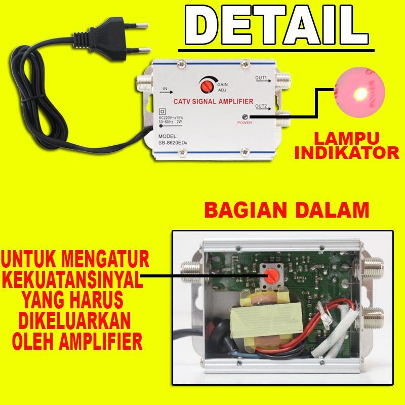 ... EELIC CSA-8620ED6 PENGUAT SINYAL 20 dB CATV SIGNAL AMPLIFIER TV TELEVISI BROADBAND 1 INPUT ...