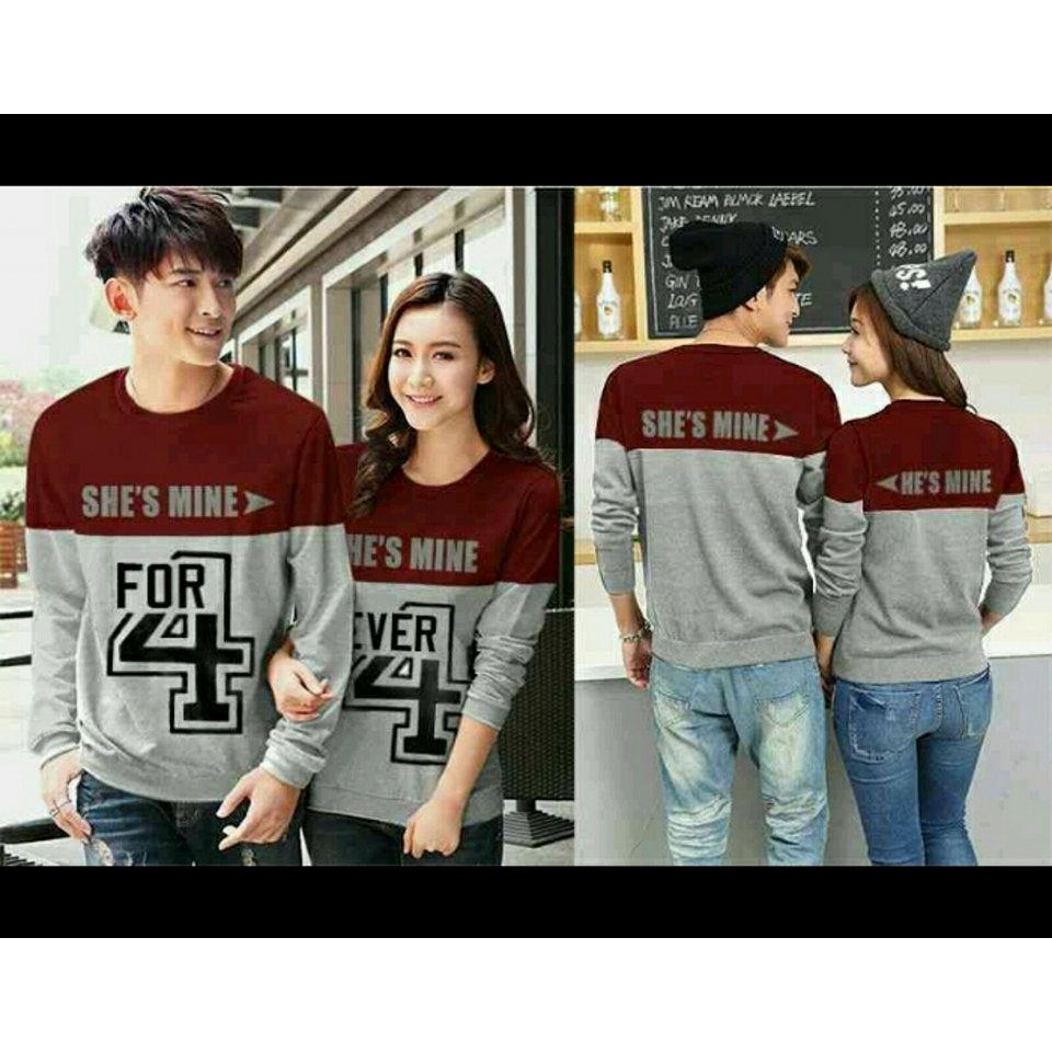Spesifikasi Legionshop Baju Pasangan Sweater Pasangan Sweater Couple Atasan Murah Pakaian Couple Terbaru Baju Kembar Baju Couple Sweater Kembar 4Ever Navy Grey Pria Dan Wanita Beserta Harganya