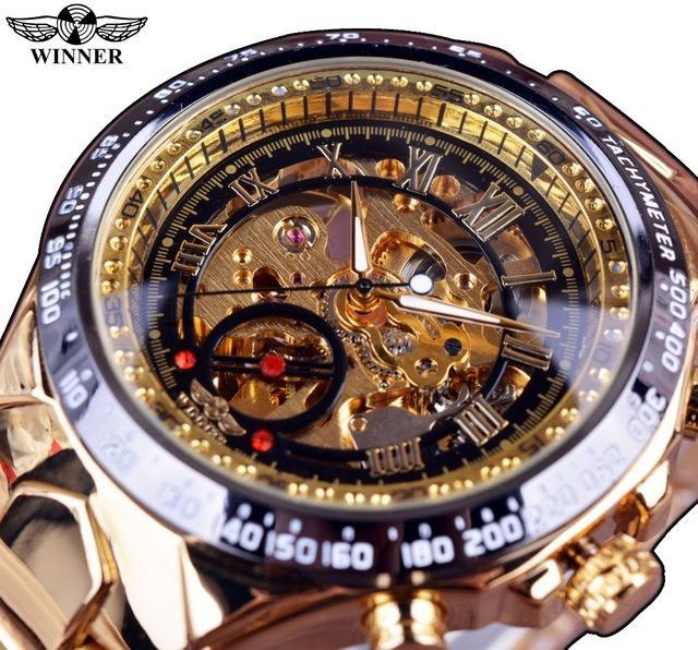WINNER Merek Mekanik Uhr Aviator Militer Skala Digital Dial Chronograph Desain Pria Clock Watch Leather Otomatis