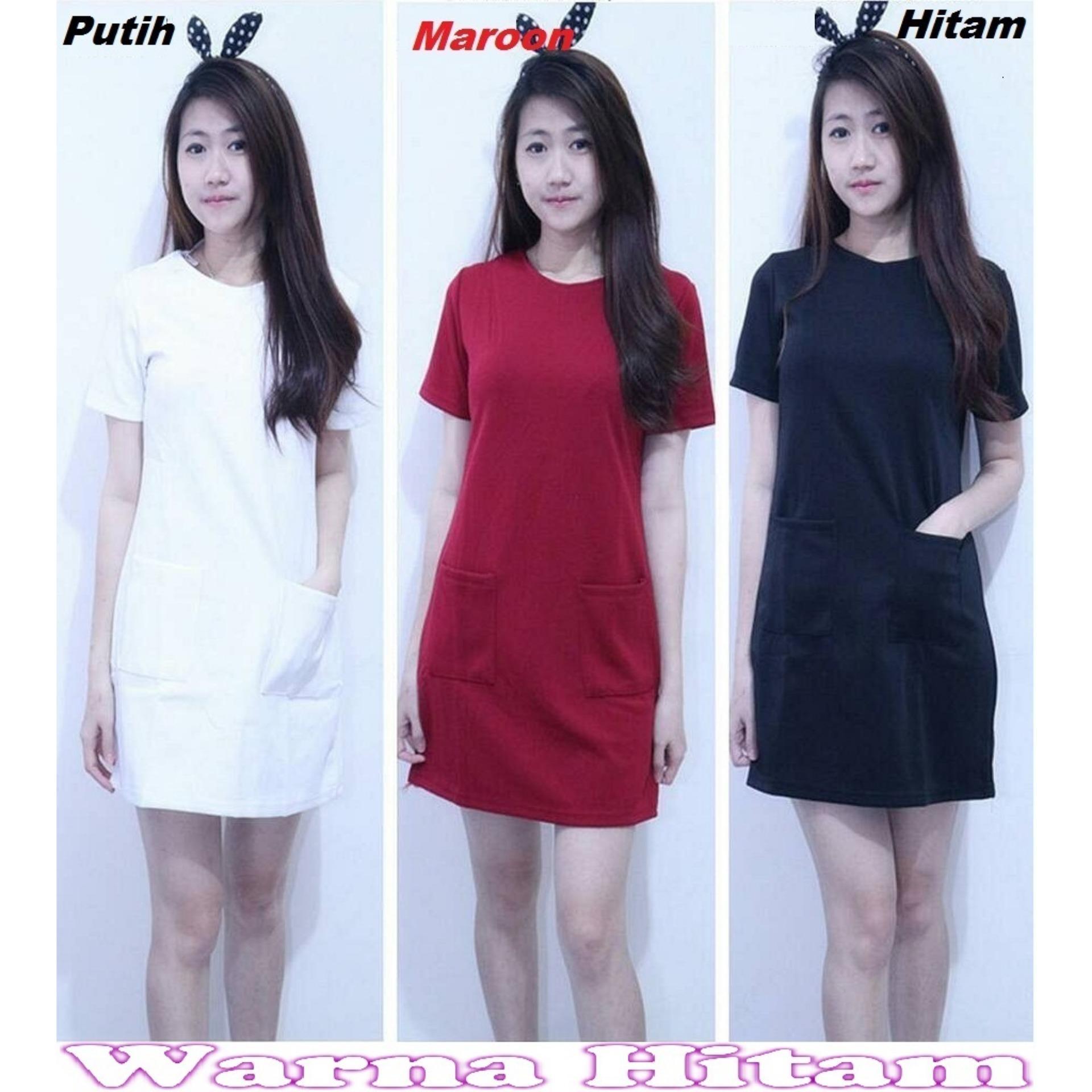 Popuri Fashion Baju Dress Rachell Wanita - Scuba Lengan Pendek - Hitam