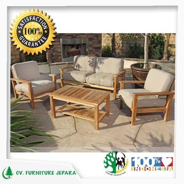 SET KURSI TAMU SOFA TERAS KAYU JATI OUTDOOR