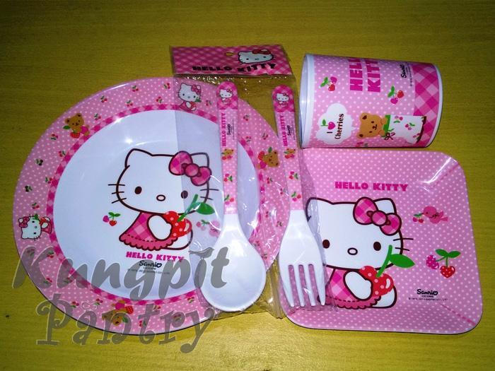 Set01 Hello Kitty Melamin 1 Set Piring Gelas Sendok Garpu Piring lucu