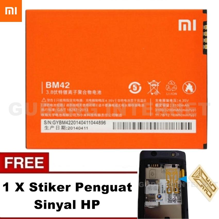 Xiaomi Battery BM42 For Redmi Note 3100Mah Original 100% - Orange Free Stiker Penguat Sinyal Hp