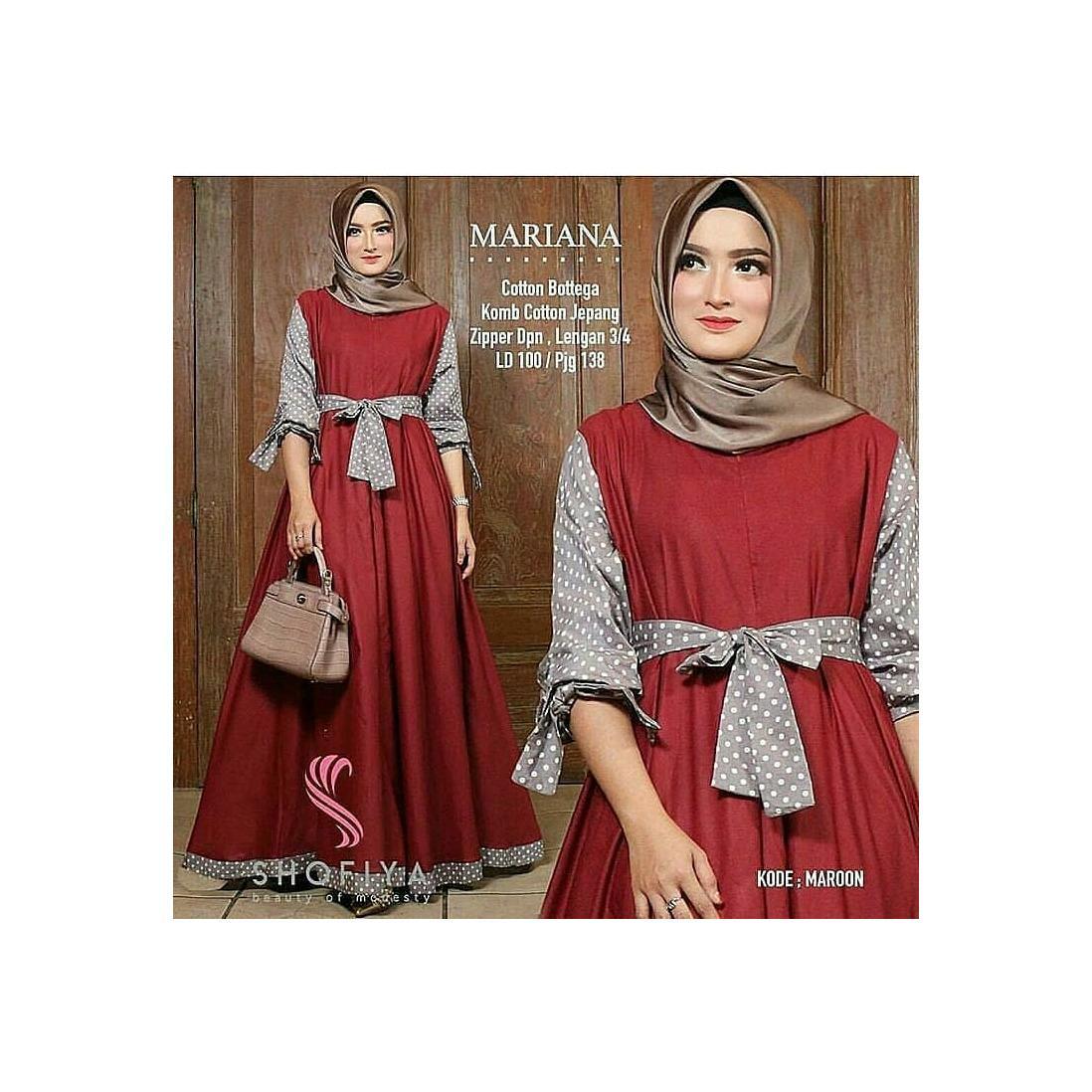 Baju Mariana Polka Maxi Dress Panjang  Balotelly Hijab Casual Pakaian Muslim Wanita Muslim Modern Terbaru Termurah  2018