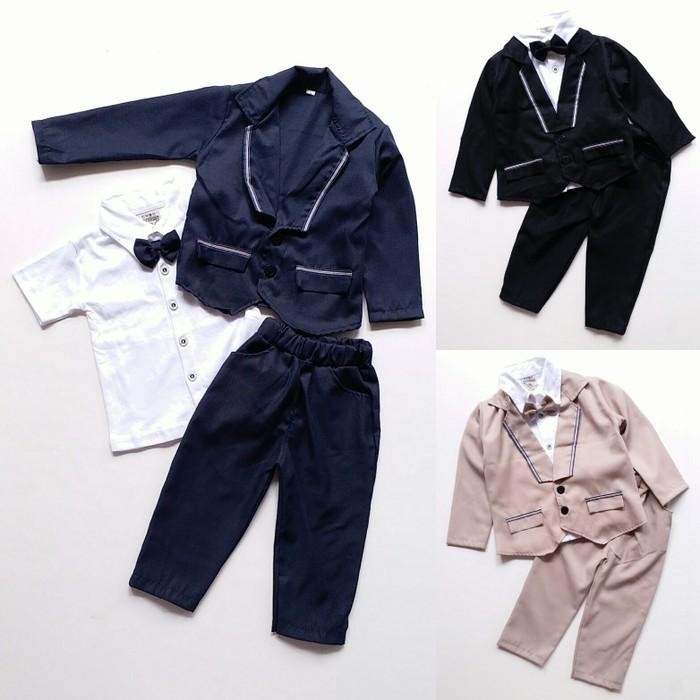 Dijual Baju Setelan Pesta Anak Bayi Laki Jas Tuxedo Dasi Kupu Celana Panjang Berkualitas