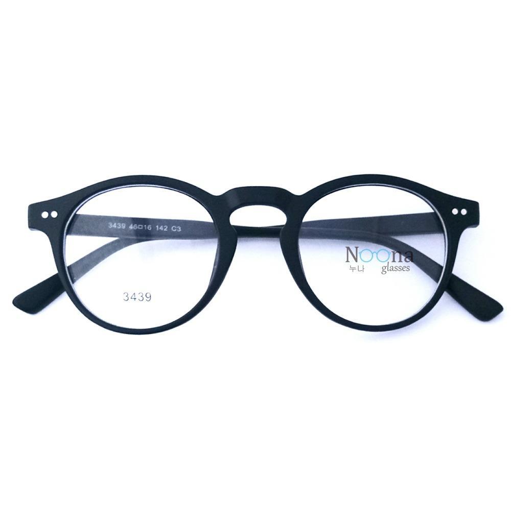 Harga Frame Kacamata Korea Pria Wanita Unisex Bulat Noona N018 Full Black Lengkap