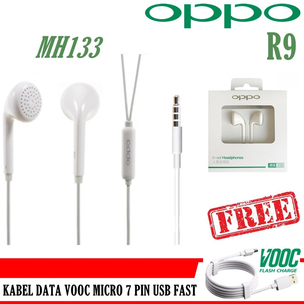 Oppo Handsfree MH130 For OPPO F1 PLUS + FREE Kabel Data Oppo VOOC 7 Pin Micro USB Fast Original 100%