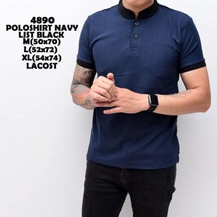 Jual Murah Polo Shirt Pria  Kaos Cowok Baju Shanghai Black Mix Navy Distro