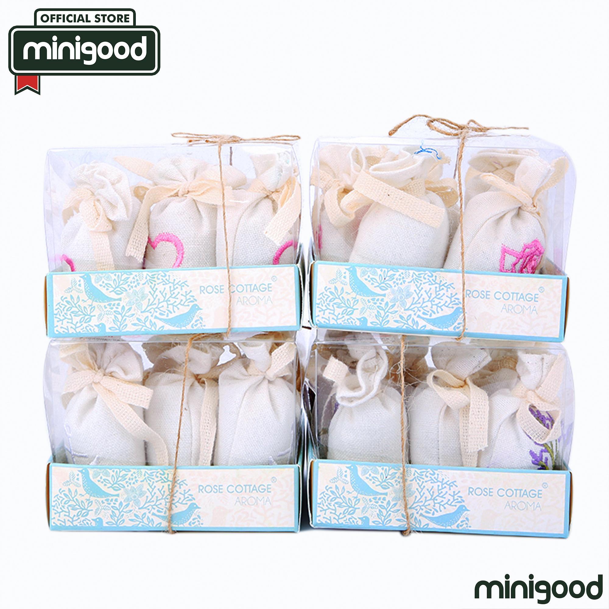 minigood TERBARU pengharum ruangan sachet wangi bunga segar tahan lama desain tas rajut 6Bags