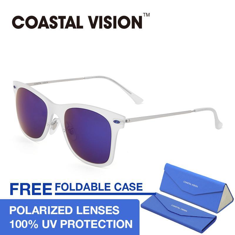 Coastal Vision Kacamata Polarized Wanita Transparent Persegi Panjang Lensa Mirror Anti Uva B Cvs5019 Terbaru