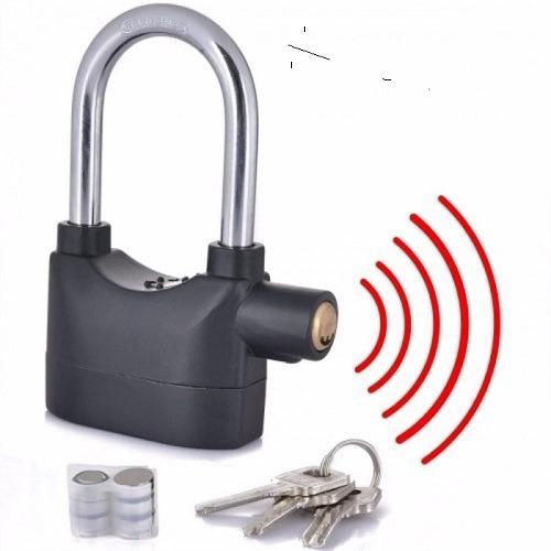 Kunci Gembok Alarm Super Kuat - Lock Kunci Pengaman Rumah Pagar Ring Panjang + Free Baterai Cadangan