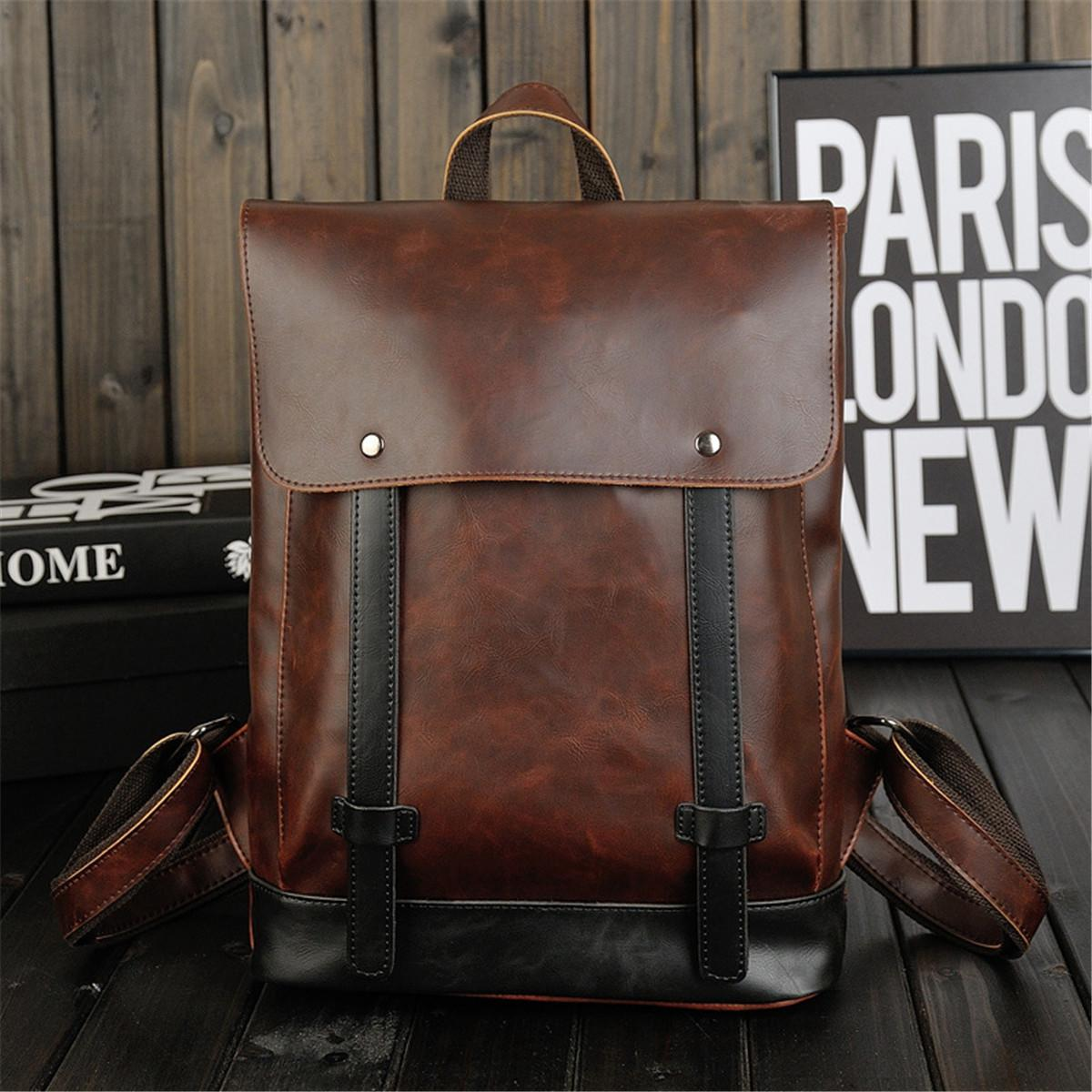 Beli Vintage Men Women Pu Leather Backpack Messenger Bag Satchel Travel Rucksack Bags Cicilan