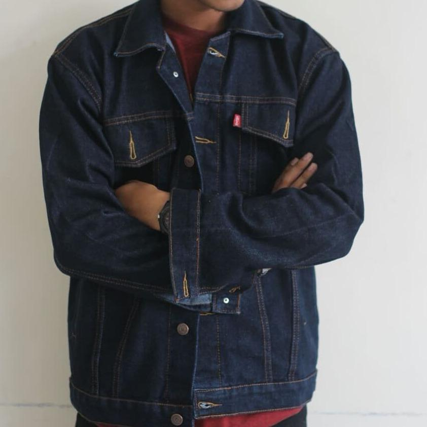 Promo Lky Jaket Denim Darkblue Big Size Xl Xxl Indonesia