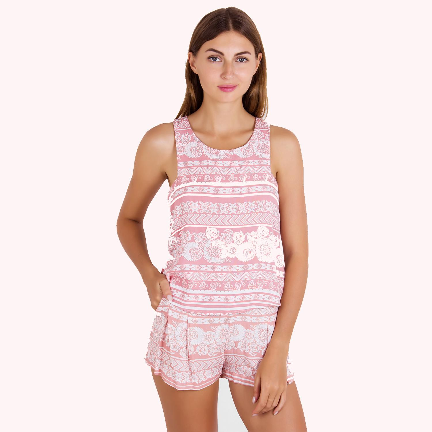 PALM CAREN TOP IN SUNNY-SUNNY CORAL-6355043511010603001